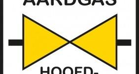 Aardgas hoofdafsluiter veiligheidsbord